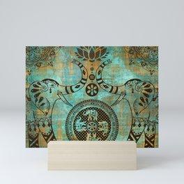Elephants Lotus Flower Distressed Mandala Design Mini Art Print