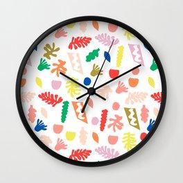 Shapes fun minimal bright colorful botanical leaves and geometric shapes kids room decor Wall Clock