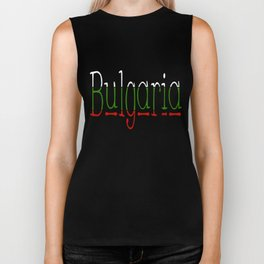 Bulgaria Font #1 with Bulgarian Flag Biker Tank