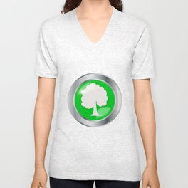 Oak Tree Button Unisex V-Neck