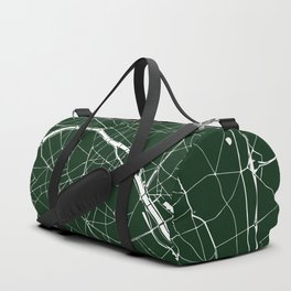 Paris France Minimal Street Map - Forest Green Duffle Bag
