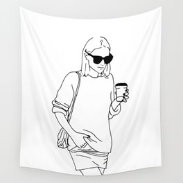 Woman with Coffee Wall Tapestry