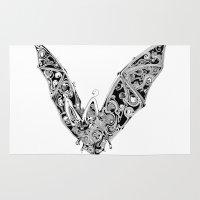 bat Area & Throw Rugs featuring Bat by Gwyn Hockridge