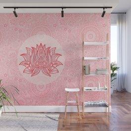 Lotus Flower Spiritual Ornament Pastel Pink Wall Mural