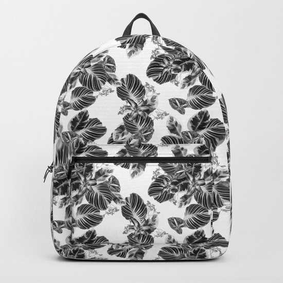 Black and white floral pattern Backpack