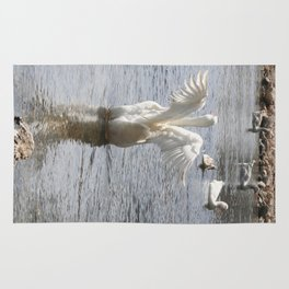 White Duck Flapping Wings on Water Rug