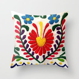 Red Mexican Flower Throw Pillow