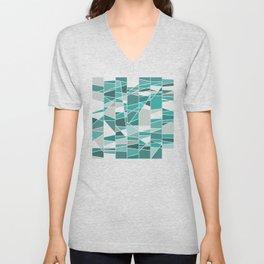 Turquoise and grey Unisex V-Neck
