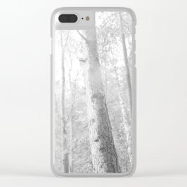 fog in the forest, black and white photo Clear iPhone Case