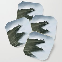 Foggy Landscape Digital Painting Coaster