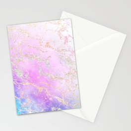 Modern rainbow glitter marble on nebula watercolor ombre Stationery Cards