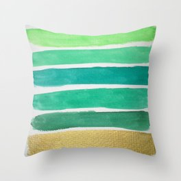 Gold and Green Stripes Throw Pillow