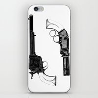 guns iPhone & iPod Skins featuring Two Guns by Broenner