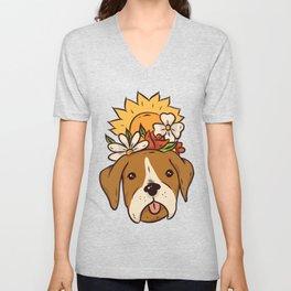 Dog with flowers sweet Unisex V-Neck