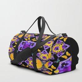 BLACK-GOLD-PURPLE BUTTERFLIES PANSY KALEIDOSCOPE Duffle Bag