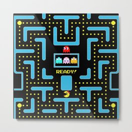 pac-man blue Metal Print