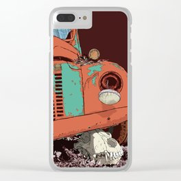 Art print: The old vintage car and the wolf skull Clear iPhone Case