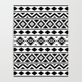 Aztec Essence Ptn III Black on White Poster