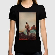 Leaving Their Cities Behind Black Womens Fitted Tee SMALL