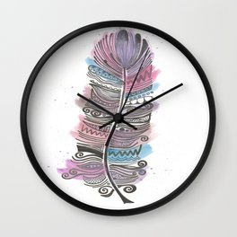Purple and Blue Zen Feather Wall Clock