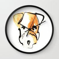 jack russell Wall Clocks featuring Jack Russell by Jen Moules