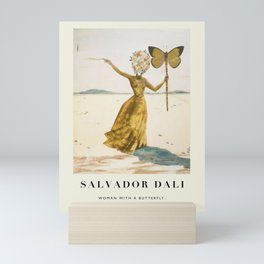 Vintage poster-Salvador Dali-Woman with a butterfly.  Mini Art Print
