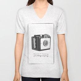 Old Vintage Kodak Brownie Film Camera Unisex V-Neck