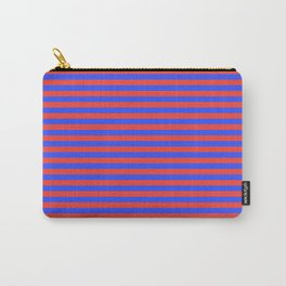 Even Horizontal Stripes, Blue and Red, S Carry-All Pouch