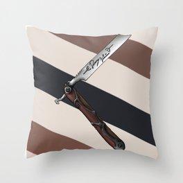Barbers Vintage Straight Edge Razor Throw Pillow