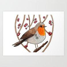 Christmas winter robin Art Print