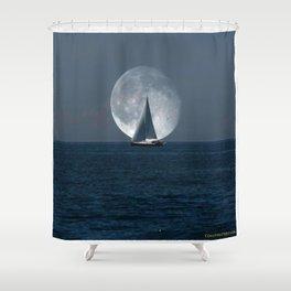 Full Moon Sailing Shower Curtain