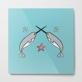 Narwhal knights Metal Print