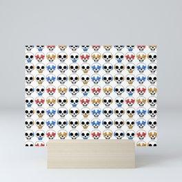 Cute Skulls No Evil II Pattern Mini Art Print