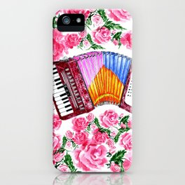 Accordion with pink roses iPhone Case