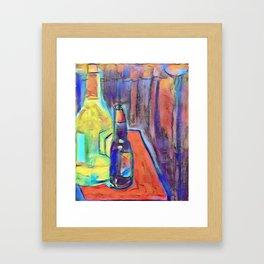 Bottles on Books Framed Art Print
