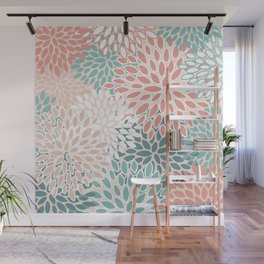 Modern Floral Prints, Teal, Peach, Coral, Abstract Art, Colour Prints Wall Mural