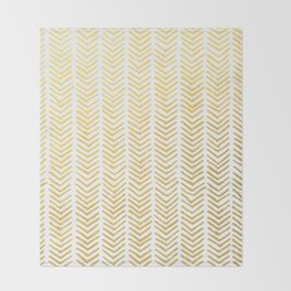 Brush painted chevron in gold Throw Blanket