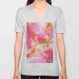 pink abstract Unisex V-Neck