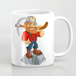 miner funny with pick.Prospector cartoon Coffee Mug