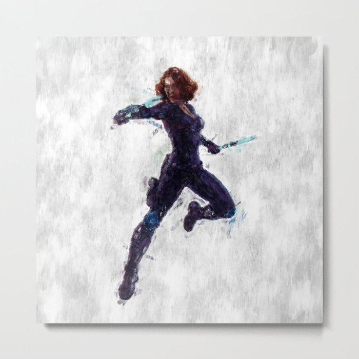 Black Widow Heroine Metal Print