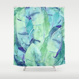 Banana Tree Leaves | Tropical  BLUE Watercolor Shower Curtain