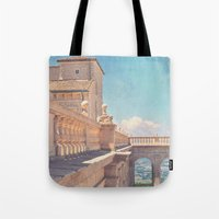 castle in the sky Tote Bags featuring Castle In The Sky by ZBOY
