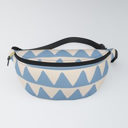 Retro Triangle Pattern 528 Blue and Beige Fanny Pack