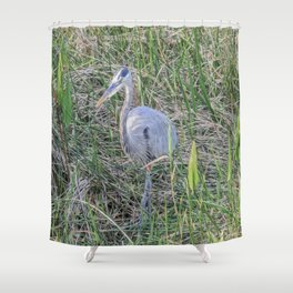 Hello Blue Heron Shower Curtain