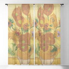 Sunflowers by Van Gogh Sheer Curtain