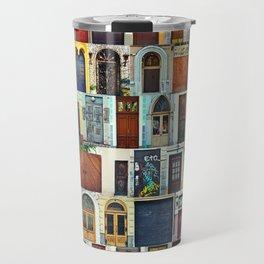 Collage of Kiev front doors,Ukraine Travel Mug
