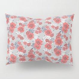 Crimson and Silver Floral Pillow Sham