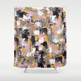 Modern Acrylic Brushstrokes Pink Salmon Gold Black White Hand Painted Shower  Curtain