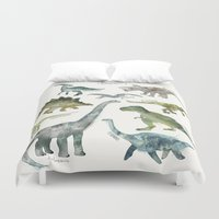 dinosaurs Duvet Covers featuring Dinosaurs by Amy Hamilton