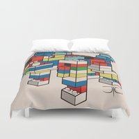 the hound Duvet Covers featuring Block Hound by My Metal Hand by JTO